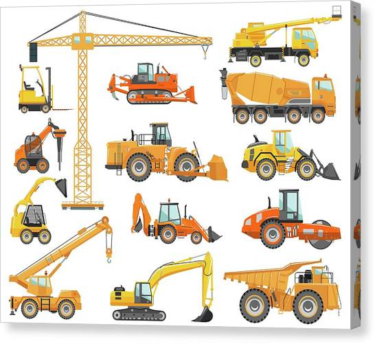 Dump Trucks Canvas Print - Set Of Detailed Heavy Construction And by Alexyustus