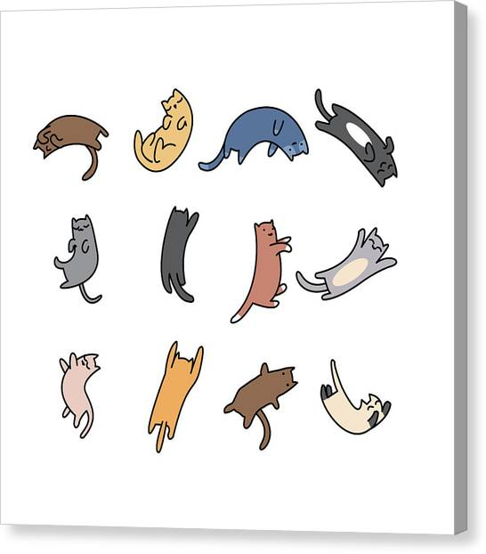 Printmaking Canvas Print - Set Of Doodle Cats On White Background by Chayapoll Tummakorn