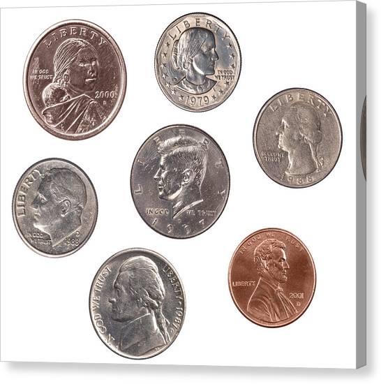 Set Of U.s. Coins Canvas Print by Joe Belanger