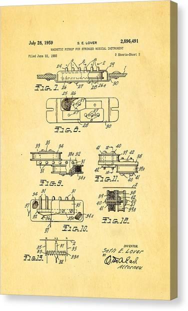 Household Canvas Print - Seth Lover Gibson Humbucker Pickup 2 Patent Art 1959 by Ian Monk