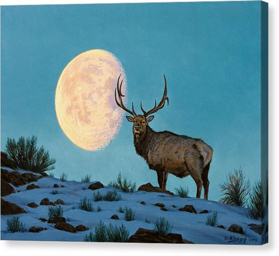 Moon Canvas Print - Setting Moon And Elk by Paul Krapf