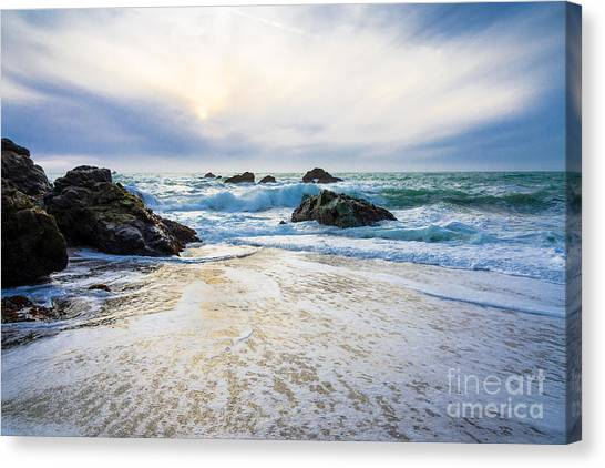Setting Sun And Rising Tide Canvas Print