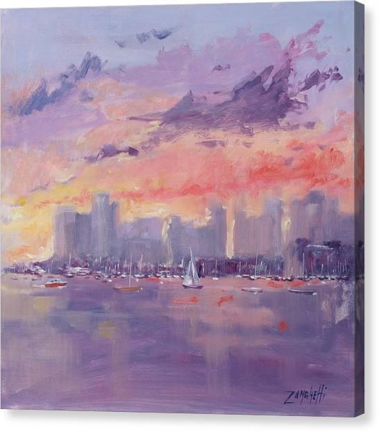 Boston Skyline Canvas Print - Setting Sun Over Boston  by Laura Lee Zanghetti