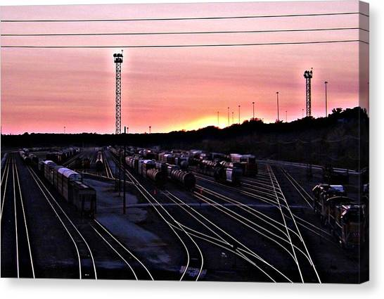 Setting Sun Shining Rails Canvas Print by Elizabeth Sullivan