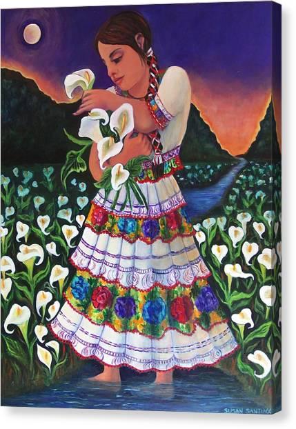 Seuno En Un Campo De Lirios Cala Canvas Print