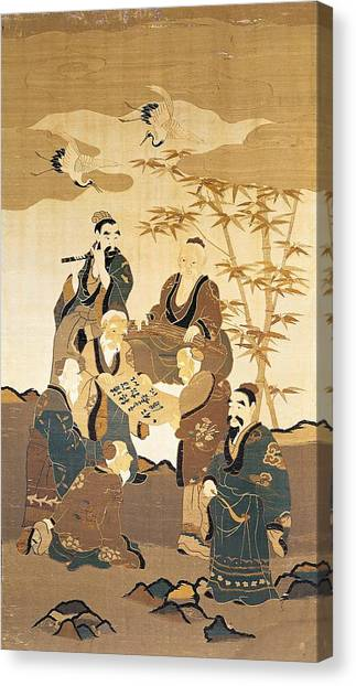 Storks Canvas Print - Seven Wise Men In The Bamboo Forest Painted Silk by Japanese School