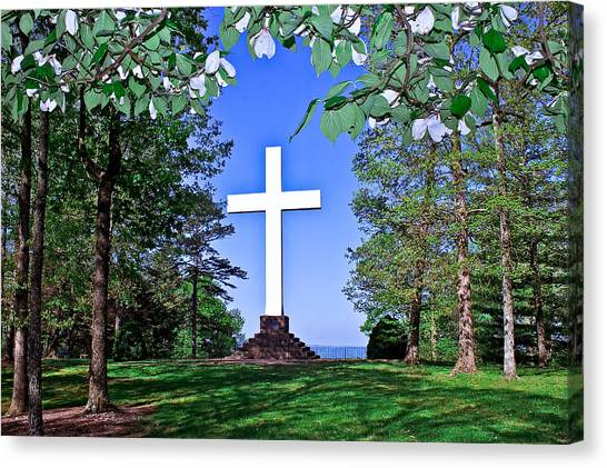 The University Of Tennessee Canvas Print - Sewanee Cross In The Spring by Tony Alonso