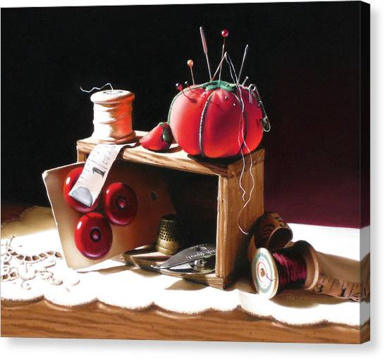 Sewing Box In Reds Canvas Print by Dianna Ponting