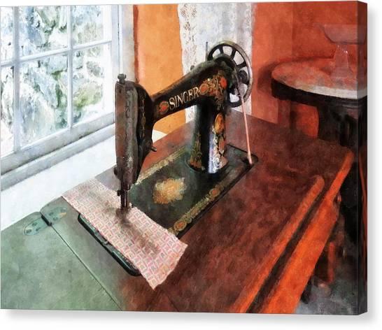 Sewing Machine Near Lace Curtain Canvas Print by Susan Savad