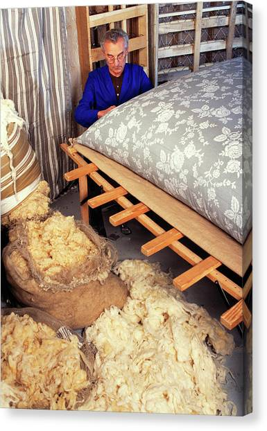 Stuffing Canvas Print - Sewing Mattresses by Pascal Goetgheluck/science Photo Library