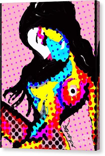 Sex Kitten Canvas Print - Sex Kitten Colour Polkadots by Karen Larter