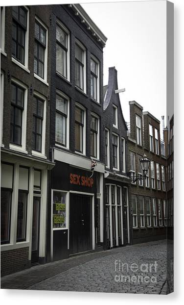 Sex Kitten Canvas Print - Sex Shop Amsterdam by Teresa Mucha