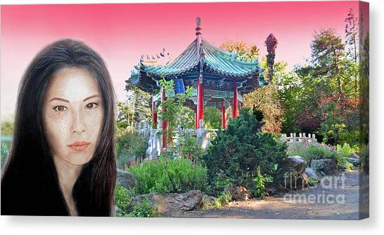 Lucy Liu Canvas Print - Sexy Freckle Faced Beauty Lucy Liu Altered Version II by Jim Fitzpatrick