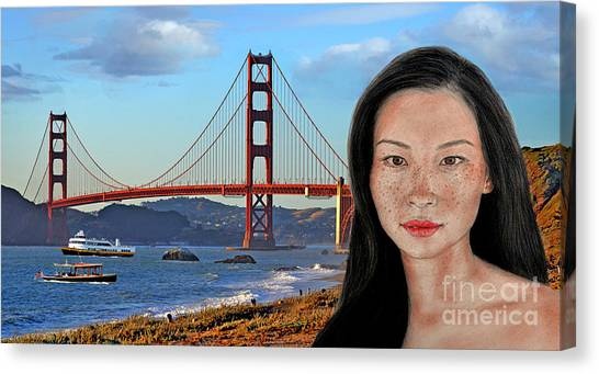 Lucy Liu Canvas Print - Sexy Freckle Faced Beauty Lucy Liu Altered Version by Jim Fitzpatrick