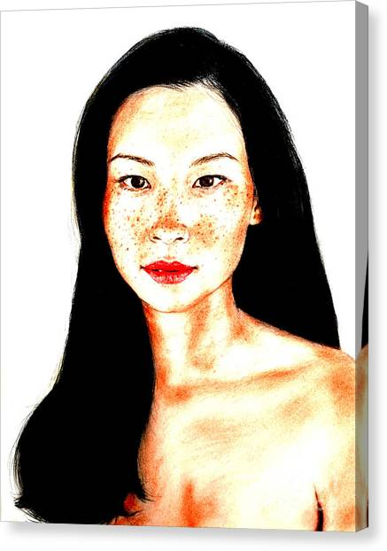 Lucy Liu Canvas Print - Sexy Freckle Faced Beauty Lucy Liu Version II by Jim Fitzpatrick