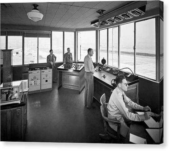 Air Traffic Control Canvas Print - Sfo Control Tower by Underwood Archives