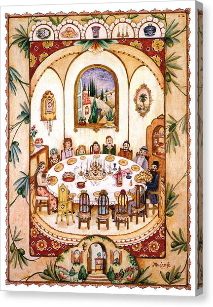 Judaism Canvas Print - Shabbat Table by Michoel Muchnik