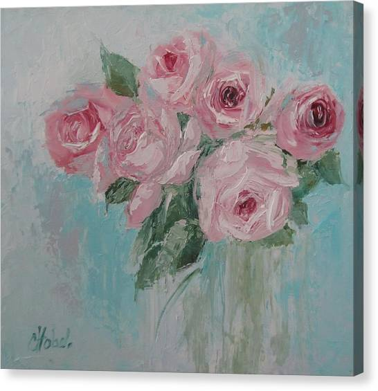 Shabby Chic Pink Roses Oil Palette Knife Painting Canvas Print