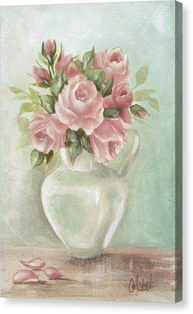 Shabby Chic Pink Roses Painting On Aqua Background Canvas Print