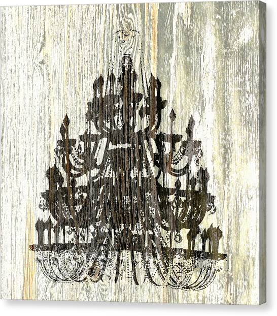 Shabby Chic Rustic Black Chandelier On White Washed Wood Canvas Print