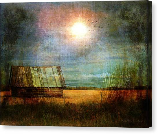 Shack On The Prairie Corner  Canvas Print