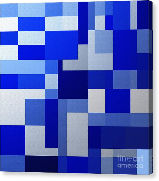 Andee Design White Canvas Print - Shades Of Blue Abstract Square by Andee Design