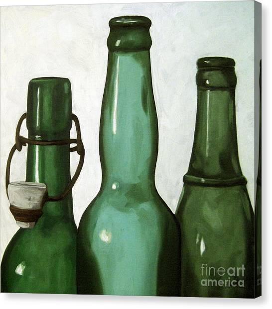 Glass Bottle Canvas Print - Shades Of Green - Bottles by Linda Apple