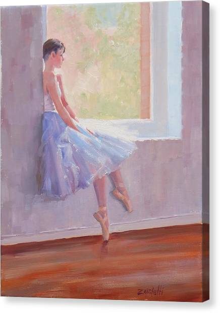 Ballet Shoes Canvas Print - Shades Of Lavender Two by Laura Lee Zanghetti