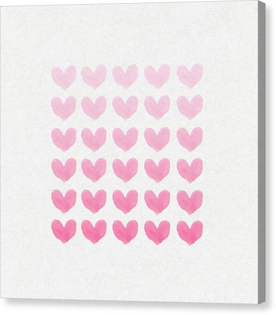 Hearts Canvas Print - Shades Of Pink by Aged Pixel