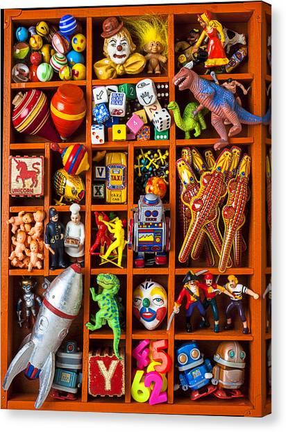 Tyrannosaurus Canvas Print - Shadow Box Full Of Toys by Garry Gay