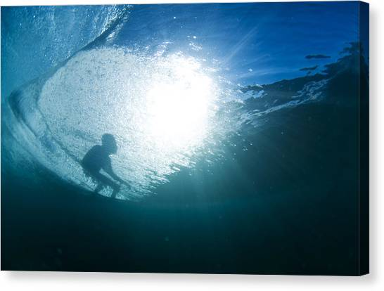 Surfing Canvas Print - Shadow Surfer by Sean Davey