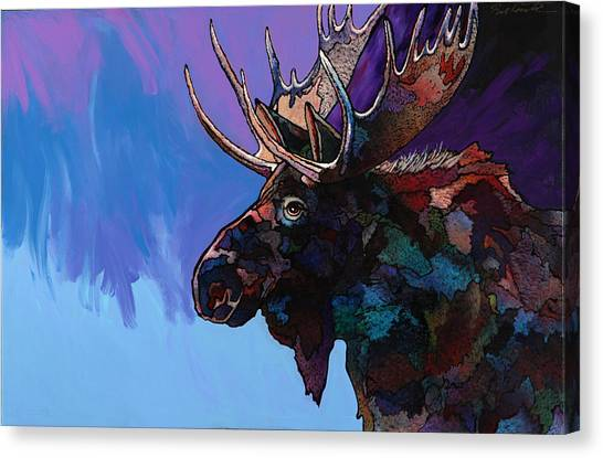 Moose Canvas Print - Shadows by Bob Coonts
