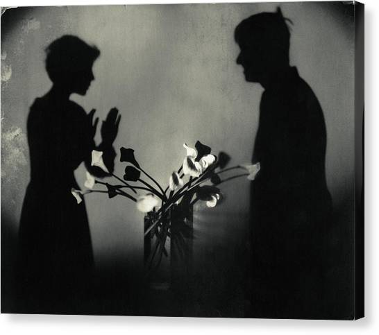 Vase Of Flowers Canvas Print - Shadows By Flowers In A Page Of Actorplasms by Edward Steichen