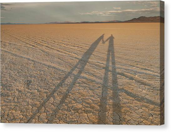 Black Rock Desert Canvas Print - Shadows Stretch Across The Black Rock by Michael Okimoto
