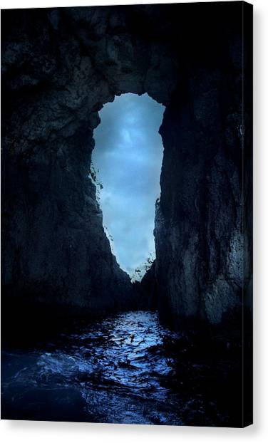 Caves Canvas Print - Shadowy Grotto - Malta by Cambion Art