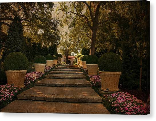 Shady Garden Walk Canvas Print by Cindy Rubin