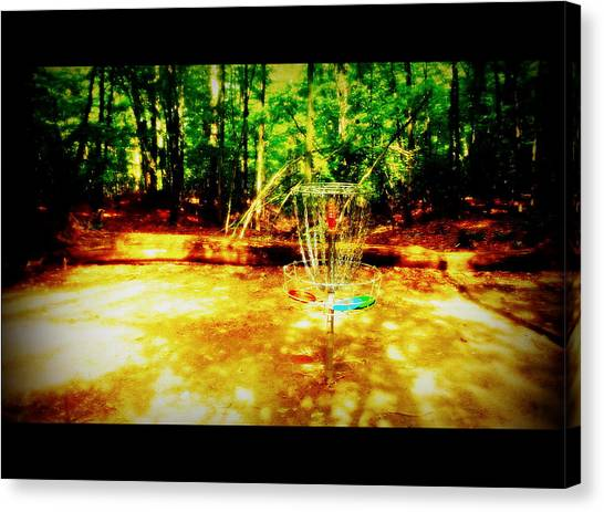 Disc Golf Canvas Print - Shady Tee by Alicia Forton