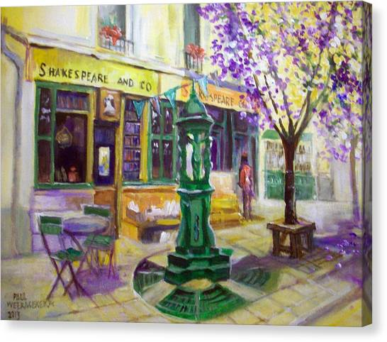 Shakespeare And Co Bookshop Canvas Print