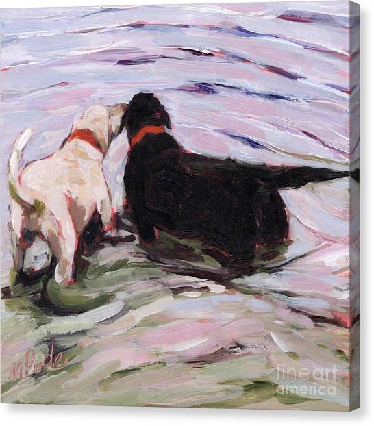 Yellow Lab Canvas Print - Shallow End by Molly Poole