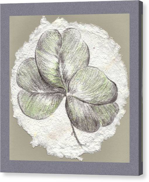 Shamrock On Handmade Paper Canvas Print
