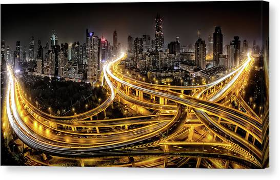 Night Lights Canvas Print - Shanghai At Night by Clemens Geiger