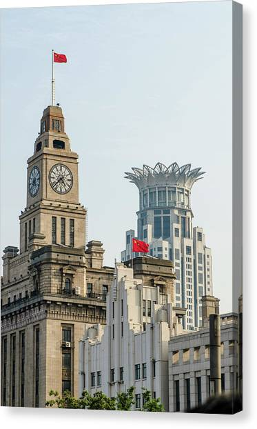Bund Canvas Print - Shanghai, China Buildings In City Center by Michael Defreitas