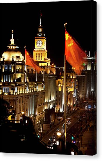 Bund Canvas Print - Shanghai, China Bund At Night Cars by William Perry