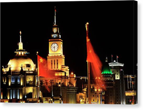 Bund Canvas Print - Shanghai, China Bund At Night Clock by William Perry