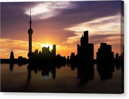 Bund Canvas Print - Shanghai China Sunset Skyline  by Aged Pixel