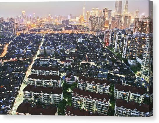 China Town Canvas Print - Shanghai Old Town At Nightfall by Katya Knyazeva