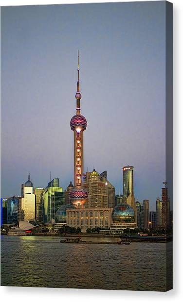 Shanghai Skyline Canvas Print - Shanghai Pearl Tower At Dusk by David Smith
