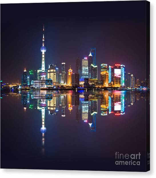 Shanghai Skyline Canvas Print - Shanghai Reflections by Delphimages Photo Creations