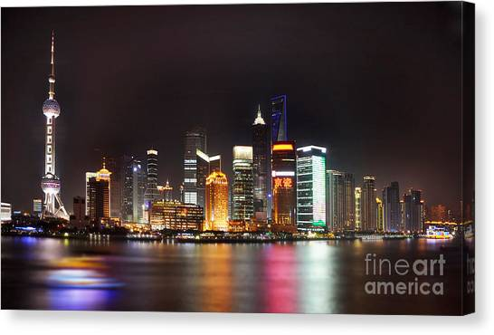 Shanghai Skyline Canvas Print - Shanghai Skyline At Night by Delphimages Photo Creations