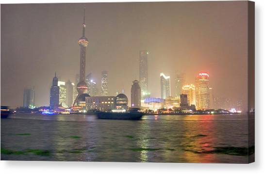Shanghai Skyline Canvas Print - Shanghai Skyline At Night by Scott Warren